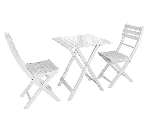 Dehner Balkonset Provence Tisch ca 71 x 60 x 60 cm 2 Stühle je ca 86 x 50 x 40 cm FSC Akazienholz weiß