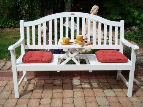 Gartenbank Holzbank Eukalyptusbank mit ausklappbarem Tisch Eukalyptus Holz FSC weiß lackiert 3-Sitzer Bank