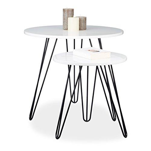 Relaxdays Beistelltisch Weiss 2er Set runder Dreibeiner Holz Sofatisch für Wohnzimmer HxD 52 x 60 cm glänzend Weiß