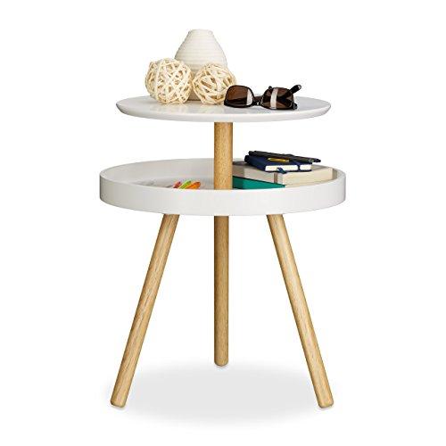 Relaxdays Beistelltisch rund weiß Holz Birke Ablage Dreibein Sofatisch Couchtisch HxBxT 55 x 47 x 47 cm white