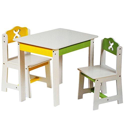 Unbekannt 1 Tisch für Kinder - aus Holz -  weiß  grün  gelb  - Kindertisch - für Jungen Mädchen - Kindermöbel - Kinderzimmer für Circa 1 - 3 Jahre - für Kindersit