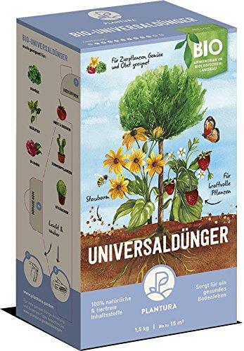 Plantura Bio Universaldünger Langzeitwirkung  für kraftvolle Pflanzen  100 tierfrei Bio-Zertifiziert  gut für den Boden  unbedenklich für Haus- Gartentiere  Naturdünger  15 kg  NPK 6-3-4