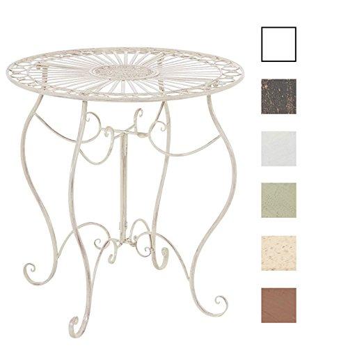 CLP Eisentisch Indra Design I Gartentisch mit geschwungenen Beinen I In Verschiedenen Farben erhältlich Antik Creme