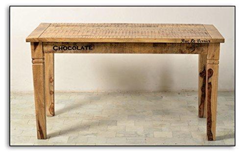 Ess-Tisch aus massivem Mango-Holz 140x70cm Antik-Finish recht-eckig  Crust  Antiker Küchen-Tisch aus Massiv-Holz mit starken Gebrauchsspuren 140cm x 70cm  Vierfußtisch für Ihr Ess-Zimmer