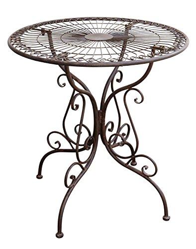 aubaho Gartentisch Nostalgie Antik-Stil Gartenmöbel Metall Garten Tisch braun