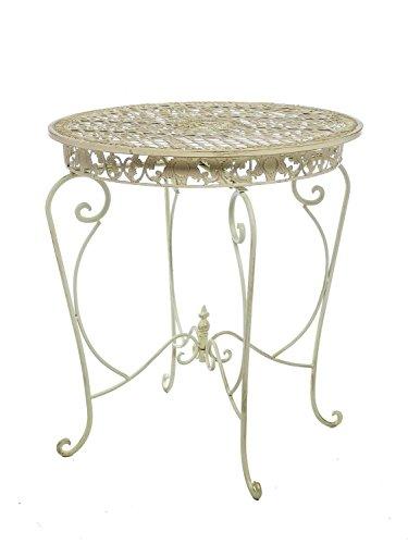 aubaho Gartentisch Tisch 73cm Garten Eisen Antik-Stil Gartenmöbel creme weiss iron