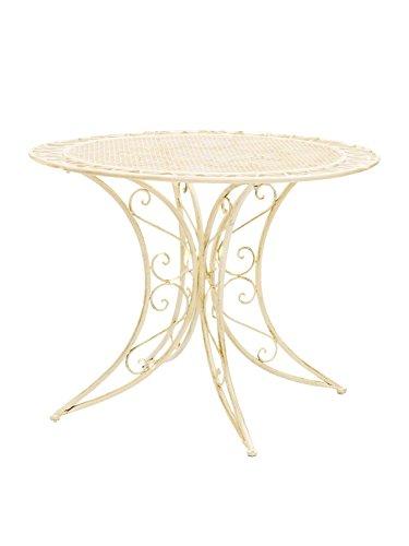 aubaho Nostalgie Tisch Gartentisch Bistrotisch Eisen Antik-Stil 100cm weiss