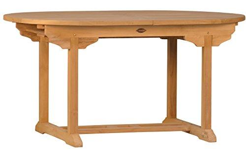 Ausziehtisch Orvieto aus Teakholz 120-170cm ✓ Wetterfest ✓ Nachhaltig ✓ Robust  Ovaler Holztisch als großer Küchen-Tisch Balkon-Tisch Garten-Tisch  Ausziehbarer Teak-Tisch Esstisch für draußen  Verlängerbares Garten-Möbel aus Massiv-Holz