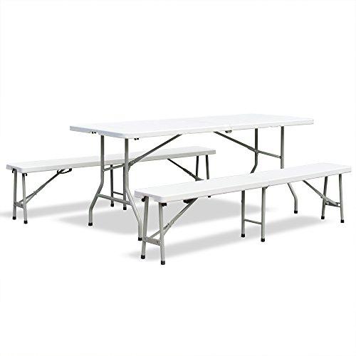 JOM Bierzeltgarnitur Frühstücks Garnitur Camping-Set Esstisch klappbar Creme-hell Tisch 180x75x74 cm mit 2 Bänken 183x28x43 cm aus HDPE Kunststoff mit Metallgestell pulverbeschichtet mit Klappfunktion und Tragegriffen