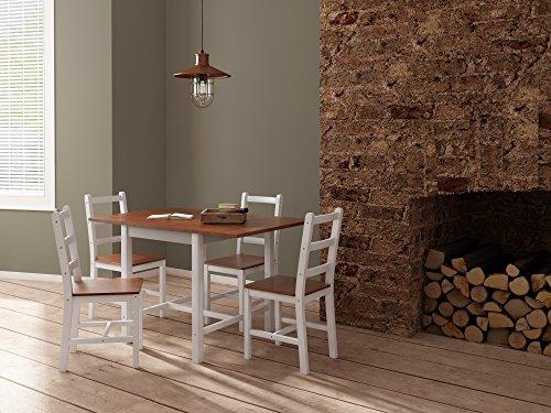 Panana Esstisch Stuhl Set Klapptisch Essgruppe Tischgurppe Esstischgruppe Sitzgruppe Esszimmergarnitur 119 x 75 x 73 CM Tisch und 4 Stühle Holz - Braun  Weiß