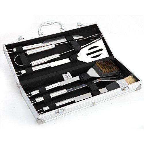 Holzsammlung 6 teilig Edelstahl Grillbesteck Barbeque im Aluminium-Koffer