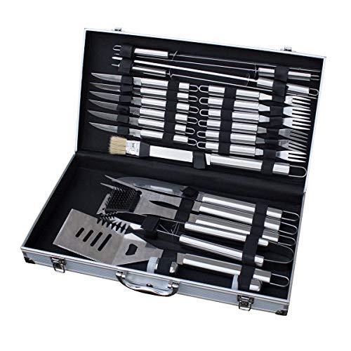 TAINO Grillbesteck Koffer 18-TLG oder 24-TLG Edelstahl Grillkoffer Grill-Set Besteck-Set Grillen Grill-Werkzeug 24 Teile