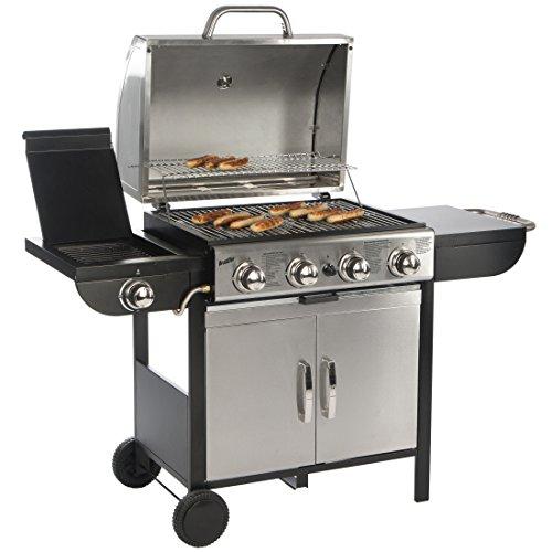 Bruzzzler 4  1 Gasgrill Profi-Grillstation für BBQ Räuchern und Grillen mit 4 Hauptbrennern und 1 Seitenkocher Farbe silber