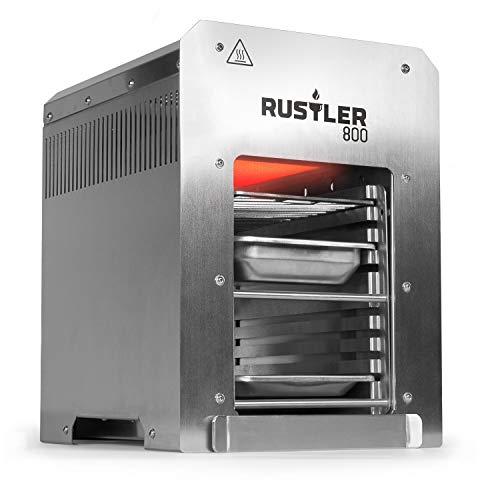 Rustler 800 Hochleistungsgrill  Oberhitze Gasgrill aus Edelstahl für Temperaturen bis zu 800° C mit Piezozünder  Grill  Inkl Grillrost Auffangschale und Warmhalteschale  CE-Zertifiziert