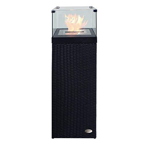 RS Trade Bio Ethanol Feuersäule Feuerschale Feuerstelle Feuerkorb Kamin Ofen für Garten und Terrasse aus Polyrattan passend zu Sonnenliege und Gartenmöbel Farbe Schwarz