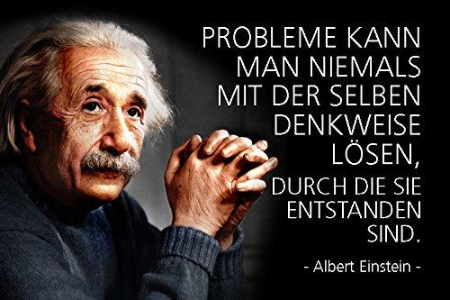 Schatzmix Albert Einstein - Probleme kann Man Niemals mit der selben denkweise lösenSpruch Metal Sign deko Schild Blech Garten