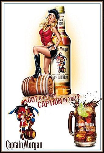 Schatzmix Captain Morgen Spiced Rum Pirat Piratin Spiced Gold Alkohol Metal Sign deko Sign Garten Blech