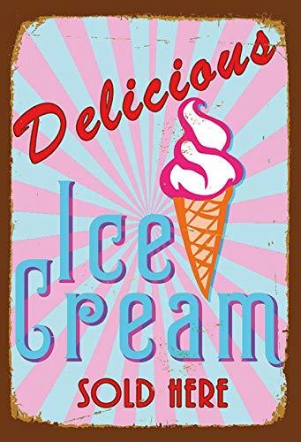 Schatzmix Delicious Ice Cream Sold Here EIS Metal Sign deko Sign Garten Blech