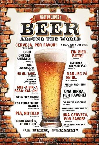 Schatzmix How to Order Beer Around The World Bier bestellen weltweit Mauer Metal Sign deko Schild Blech Garten