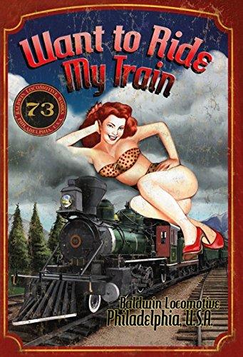 Schatzmix Pinuppin up sexy Frau Erotik Want to Ride My Train Lok Zug Bahn Metal Sign deko Sign Garten Blech