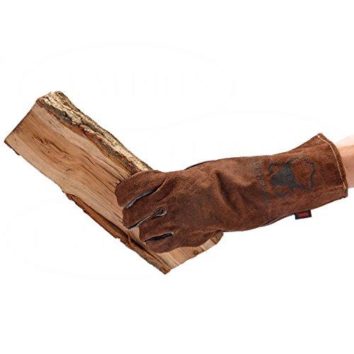 Handschuhe aus echtem Leder  geeignet für Kamin Ofen Grill Backofen  Farbe braun  Version Light  Markenqualität von Temprix