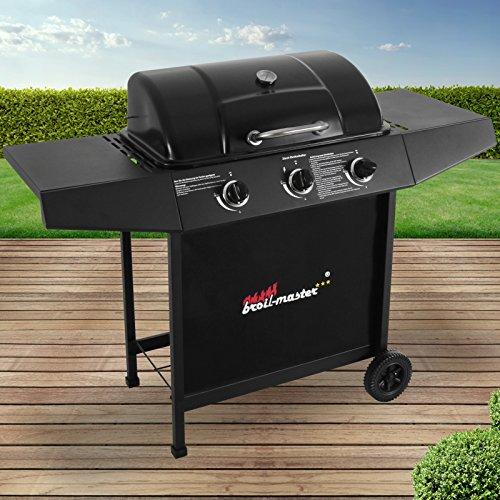 Broil-master BBQ Gasgrill  Edelstahl Deckel Grillstation mit 3 Brenner  Grillfläche 61 x 35 cm  Farbe Schwarz