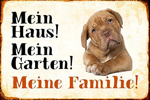 Schatzmix Mein Haus Mein Garten Meine Familie Bulldogge Hund Metal Sign deko Schild Blech Garten