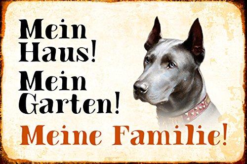 Schatzmix Mein Haus Mein Garten Meine Familie Dogge Hund Metal Sign deko Schild Blech Garten