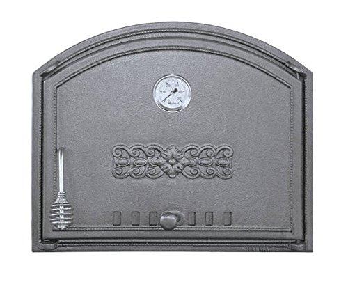 Backofentür Ofentür Pizzaofentür Holzbackofentür Steinbackofentür aus Gusseisen mit Thermometer  Außenmaße 485x410 mm  Öffnungsrichtung rechts