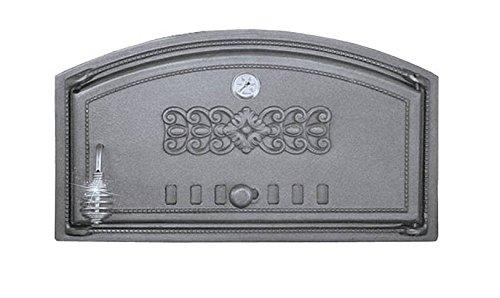 Backofentür Ofentür Pizzaofentür Holzbackofentür Steinbackofentür aus Gusseisen mit Thermometer  Außenmaße 490x280 mm  Öffnungsrichtung rechts