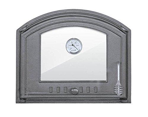 Backofentür Ofentür Pizzaofentür Holzbackofentür Steinbackofentür aus Gusseisen mit Thermometer und Ofenscheibe  Außenmaße 485x410 mm  Öffnungsrichtung links