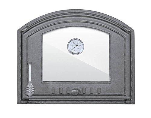 Backofentür Ofentür Pizzaofentür Holzbackofentür Steinbackofentür aus Gusseisen mit Thermometer und Ofenscheibe  Außenmaße 485x410 mm  Öffnungsrichtung rechts