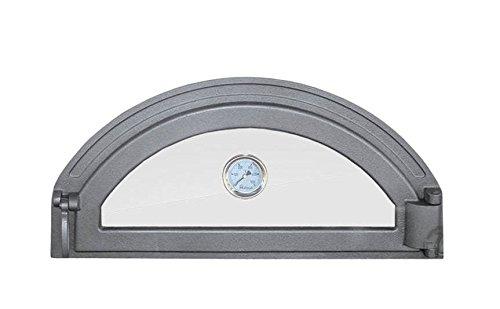 Tradehub Backofentür Ofentür Pizzaofentür Holzbackofentür Steinbackofentür aus Gusseisen mit Thermometer und Ofenscheibe  Außenmaße 600x285 mm  Öffnungsrichtung rechts