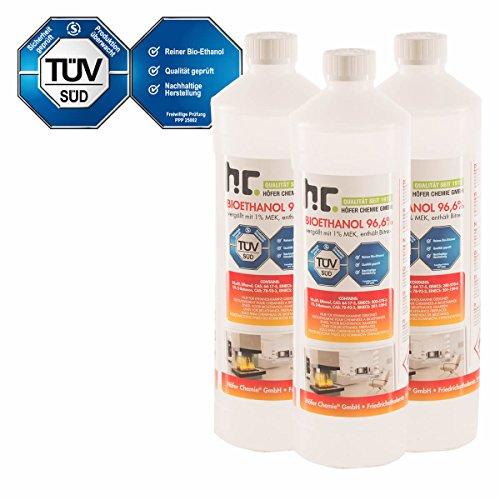 Höfer Chemie 6 x 1 L Bioethanol 966 Premium - TÜV SÜD zertifizierte QUALITÄT - für Ethanol Kamin Ethanol Feuerstelle Ethanol Tischfeuer und Bioethanol Kamin