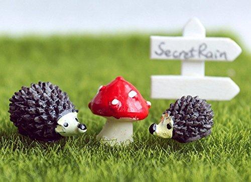 Hilai Kunstharz Miniatur-Gartendeko Blumentopf-Deko Igel Pilz Set