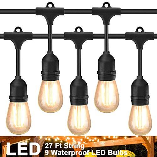 LED Outdoor Lichterketten 27Fuß 9 Hängenden Sockel Schnur Licht mit LED Birnen Wasserdicht String Lights für Außen Deko Patio Café Garten Hinterhof Party Hochzeit