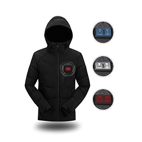 DZX Männer Elektrische Warme KleidungHeizung Jacke Mit USB-Kabel - Für Outdoor-Reisen Camping Bike Skifahren blauSchwarzBlack-S