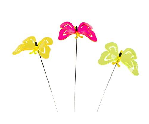 Skaize SQ-5447 Lichtfänger Schmetterling Blumenstecker Garten Balkon Deko 3er Set  Farbige Lichtspiel Stäbe aus Acrylglas
