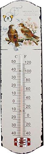 Unbekannt Metall Thermometer Vogel und Schmetterlinge Deko Garten Wohnung Vintage