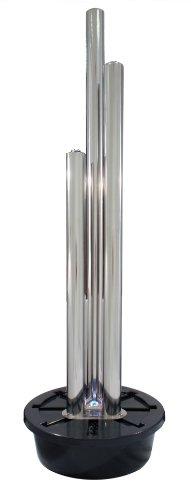 Brunnen und Mehr 185m165cm Moderner Säulenbrunnen aus poliertem Edelstahl mit LED-Beleuchtung