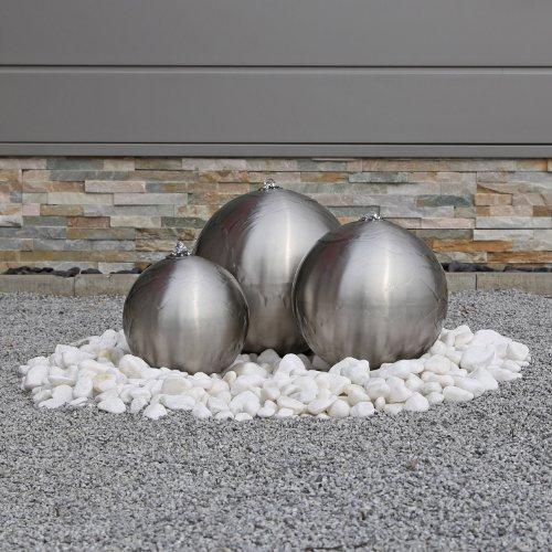 Edelstahl Kugelbrunnen ESB2 matt gebürstet 3 Edelstahlkugeln inkl LED Beleuchtung Außenbereich Garten