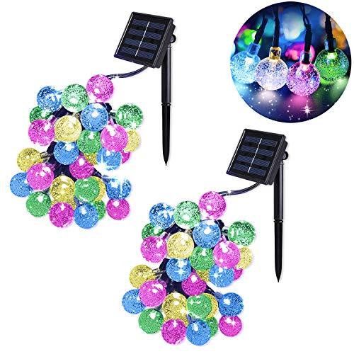 2 Stück Solar Lichterkette Kristall Kugeln MrTwinklelight LED Lichterkette Außen 45M 30er Außerlichterkette Deko für Garten Terrasse Weihnachten Partys Mehrfarbig