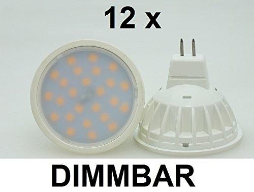 12 x 45 Watt SMD LED-Spot GU53  MR16 DIMMBAR 12V ACDC Warmweiß 2700K Retrofit 480 Lumen entspricht ~ 45 Watt Halogenspot 120° Ausstrahlung Gehäusefarbe weiß