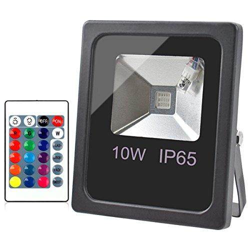 GLW 10W LED RGB Flutlicht328ft1m Draht SicherheitslichtIP65 Wasserdicht FarbwechselStrahler im FreienDimmbar 16 Farben 4 ModiFernsteuerungs BühnenlichtLandschaft Wandleuchte