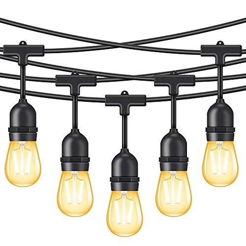 Minger 15M LED Lichterkette für Außen wasserdichtes dimmbares Licht mit 15 Vintage Edison-Birnen 2W und 1 Ersatzbirne Handelsqualität hängendes Licht für Patio Portal Garten Dekorationen