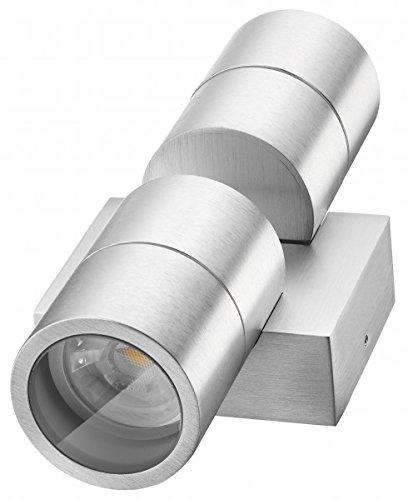 LEDANDO Hochwertige LED Wandleuchte UpDown Alu inkl 2X LED GU10 Markenstrahler 5W - CNC gefrästes Alu - Silber - warmweiß - für Innen und Außen - IP65