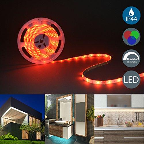 BKLicht – LED Stripes 5m – Lichterkette - Lichtleiste Band - Lichtschlauch mit Farbwechsel Inkl Fernbedienung – RGB LED Streifen Leiste selbstklebend IP20IP44