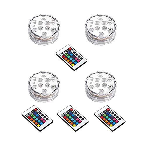 Saflyse 4PCS Multicolor RGB LED unterwasser Wasserdicht Lampe Leuchte Deko Lichter Schwimmlichter Beleuchtung f Water GardenAquarium Badewanne Pool und Spa etc CERoHS Zertifiziert