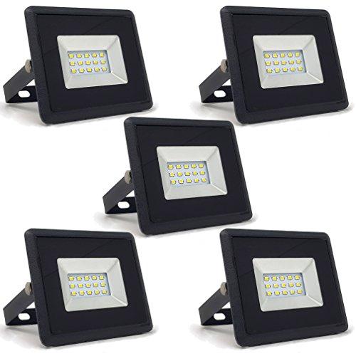 5-er Pack - ZONE LED SET - 10W - LED Strahler LED Fluter - Tageslicht 4000K - 850 Lm - Entspricht 50W - Abstrahlwinkel 110° - Schwarzer Körper