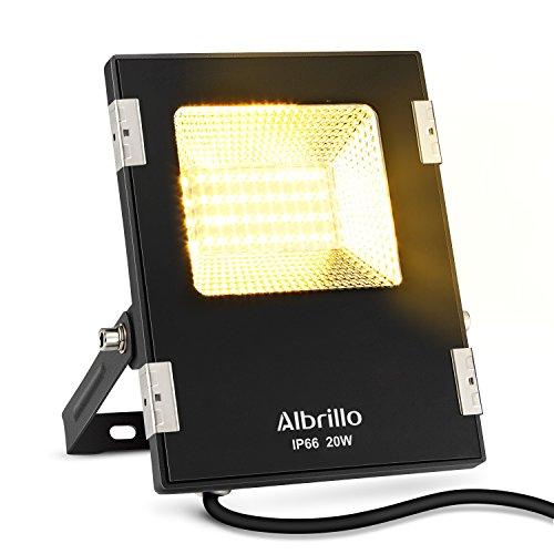 Albrillo Ultraslim 20W LED Fluter 1600 Lumen Super helle LED Scheinwerfer Warmweiß und Wasserdicht IP66 Schwarz